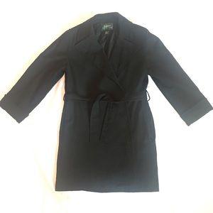 Ralph Lauren Wool Trench Coat Black Size 6